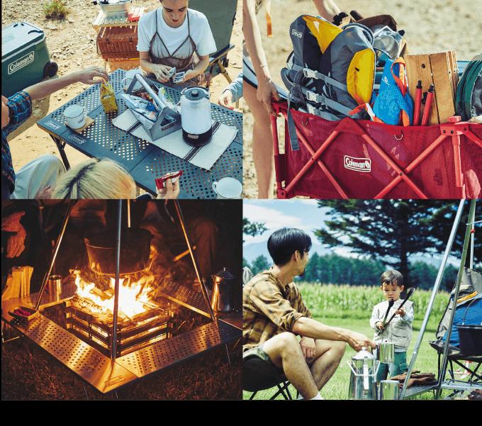 Colemanを使用したキャンプの様子の写真